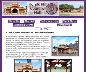 purple hill country hall website designed by Power flower web design kendell hall